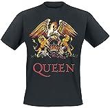 Queen Crest Vintage Hombre Camiseta Negro M, 100% algodón, Regular