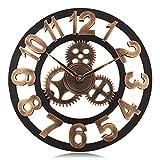 Lafocuse 45 cm Reloj de Pared Silencioso Madera Industrial Reloj Cuarzo Grande Engranaje Vintage Oro para Bar Salon Comedor Dormitorio