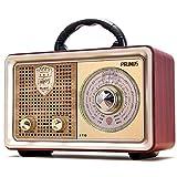 Radio portátil PRUNUS J-110BT FM Am(MW) Bluetooth SW AUX MP3. con un clásico gabinete Retro de Madera. Altavoz de 5W Incorporado, sin Enchufe para Auriculares. (Plata)
