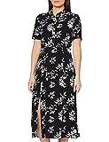 Marca Amazon - find. Vestido Midi Camisero de Flores Mujer, Negro (Black/White), 38, Label: S