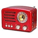 PRUNUS J-160 Am/FM/SW Transistores Radio Vintage Retro, Radio Bluetooth Portatil, Radio Portatil Pequeña Recargable con Batería de 1800mAh, USB Incorporado, SD,TF, Entrada AUX (Rojo)