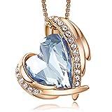 CDE Collar con Colgante de corazón de Amor para Mujer, Collares de Oro/Blanco de 18 Quilates, joyería, Regalos de cumpleaños para Esposa, Madre, Hija (Oro Rosa-Azul)
