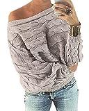 YOINS - Jersey para mujer, mangas tipo murciélago, hombro descubierto, con flor Sin flor-gris-nuevo L