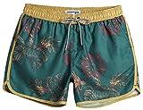 MaaMgic Bañador Hombre de Natación Secado Rápido Interior de Malla Pantalones Cortos d'Aire Vintage 80s 90s,Verde & Amarillo,L