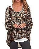 ZANZEA Camisetas Mujer Manga Larga Tallas Grandes Jersey Manga Murciélago Sexy Estampado Leopardo Irregular Sudadera Casual 04-Leopardo Marrón L