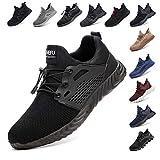 Zapatos De Seguridad para Hombre con Puntera De Acero Mujer Calzado De Trabajo Zapatos De Deportivos Transpirables Construcción Botas Trekking Negro Azul Gris Verde Rosa 36-48 EU Negro 43