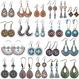 Duufin 20 Pares Bohemios Pendientes Vintage Boho Pendientes Earrings para Mujer, 20 Estilos