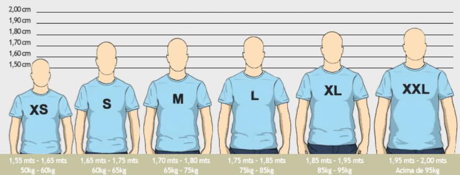 Tamaño de camiseta por altura
